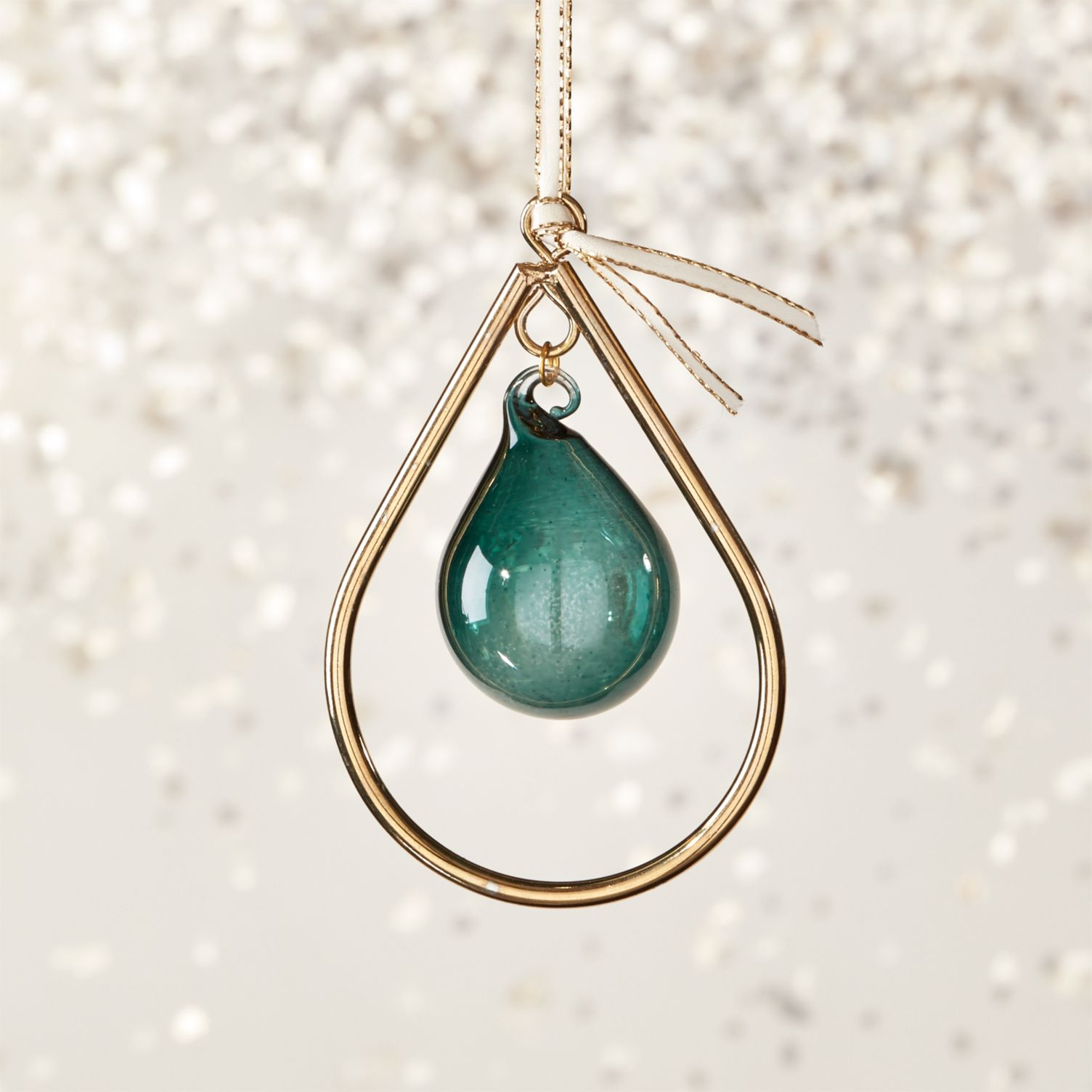 Teal drop ornament from CB2