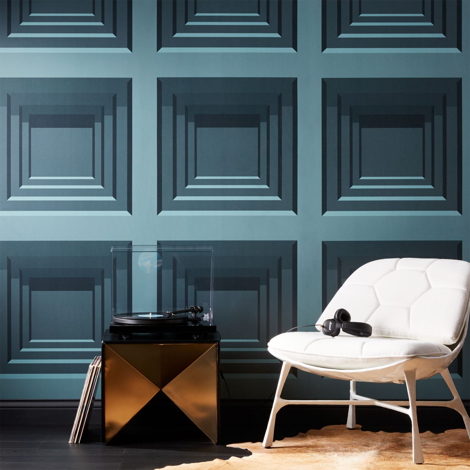 Teal geo wallpaper with a square motif