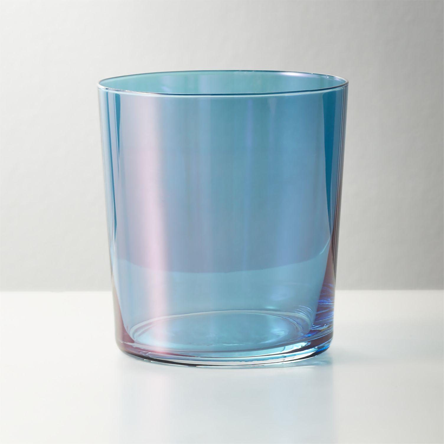 Teal luster glassware