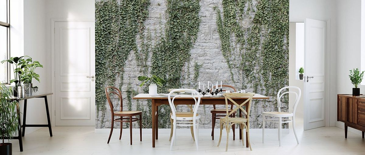 Textured brick wall with foliage is a unique look that brings plenty of freshness to your home