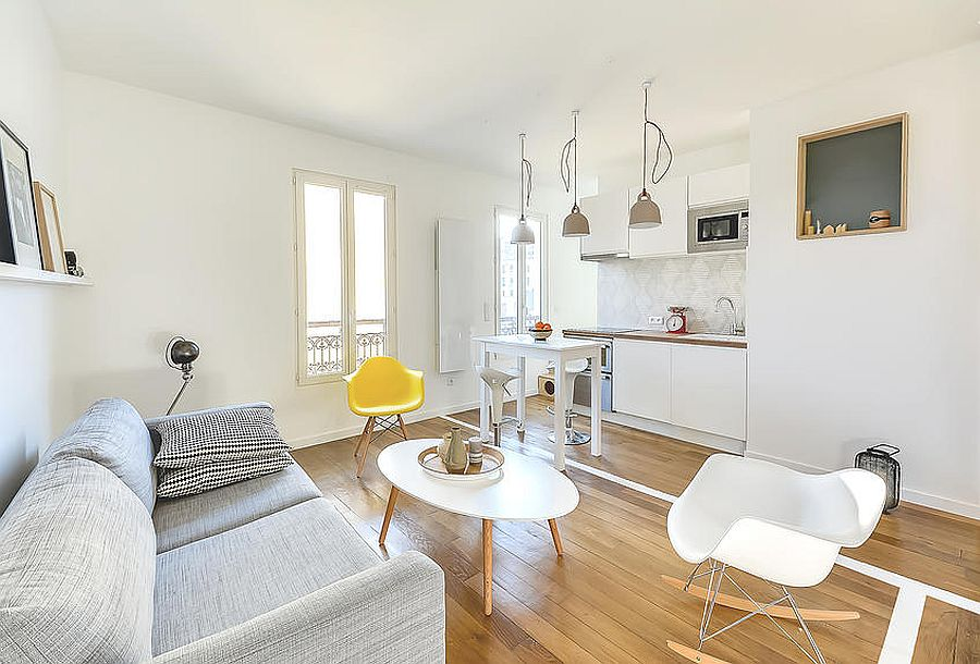 Tiny-single-wall-kitchen-in-the-corner-of-the-small-Paris-apartmet