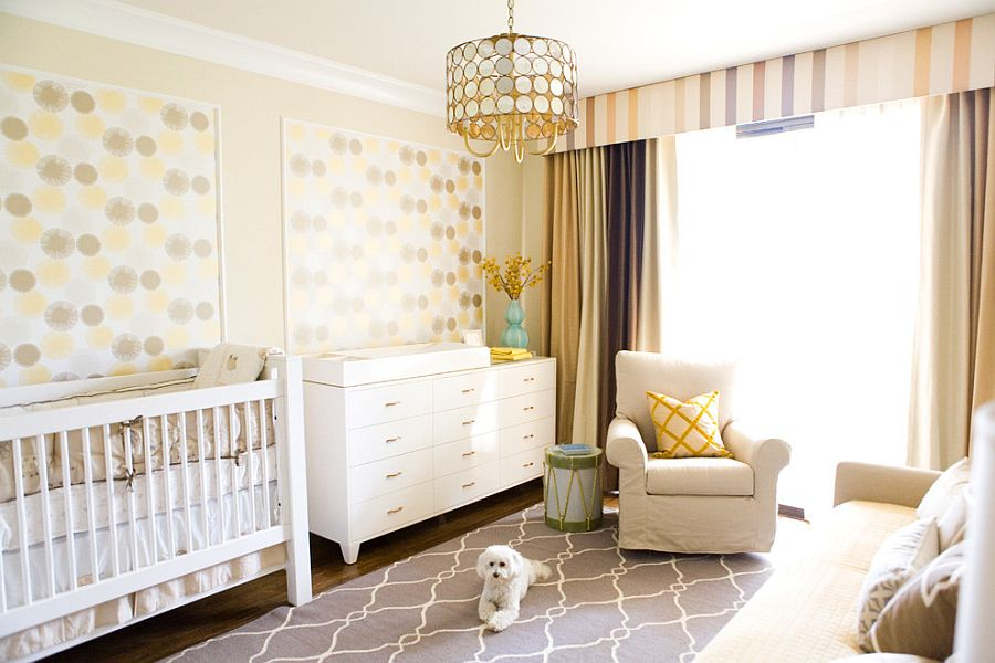 Transitional style kids' bedroom in yellow creates a warm visual appeal