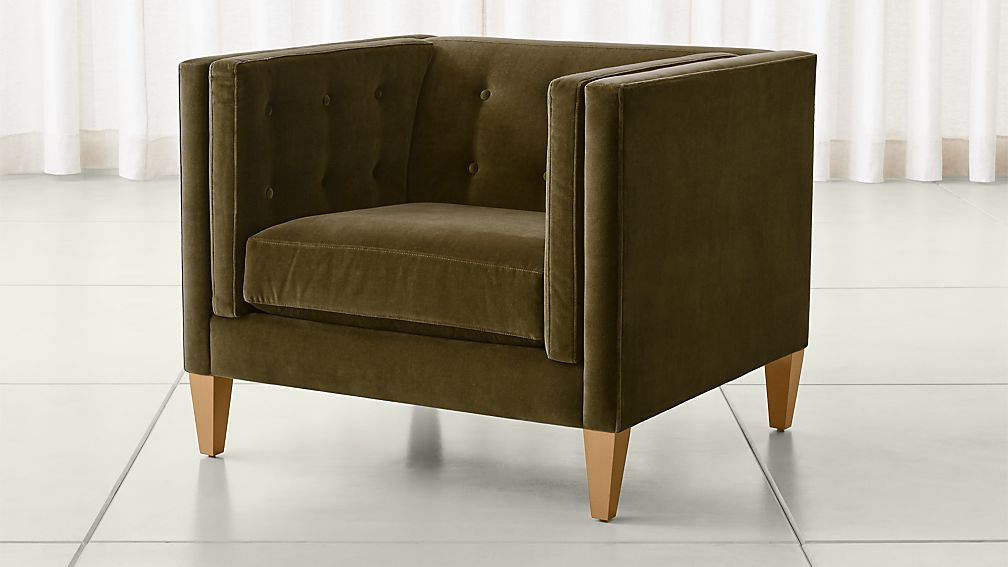 Tufted velvet chair from Crate & Barrel