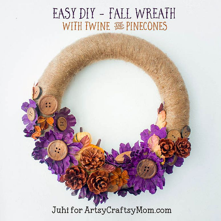 Twine and pinecones fall wreath idea