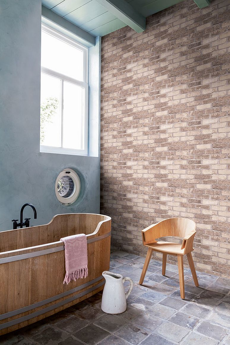 Using the brick wallpaper in modern bathroom
