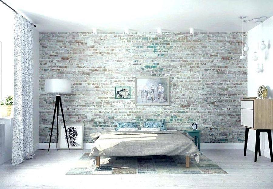 Wallpaper here adds texture while keeping the color scheme undisturbed