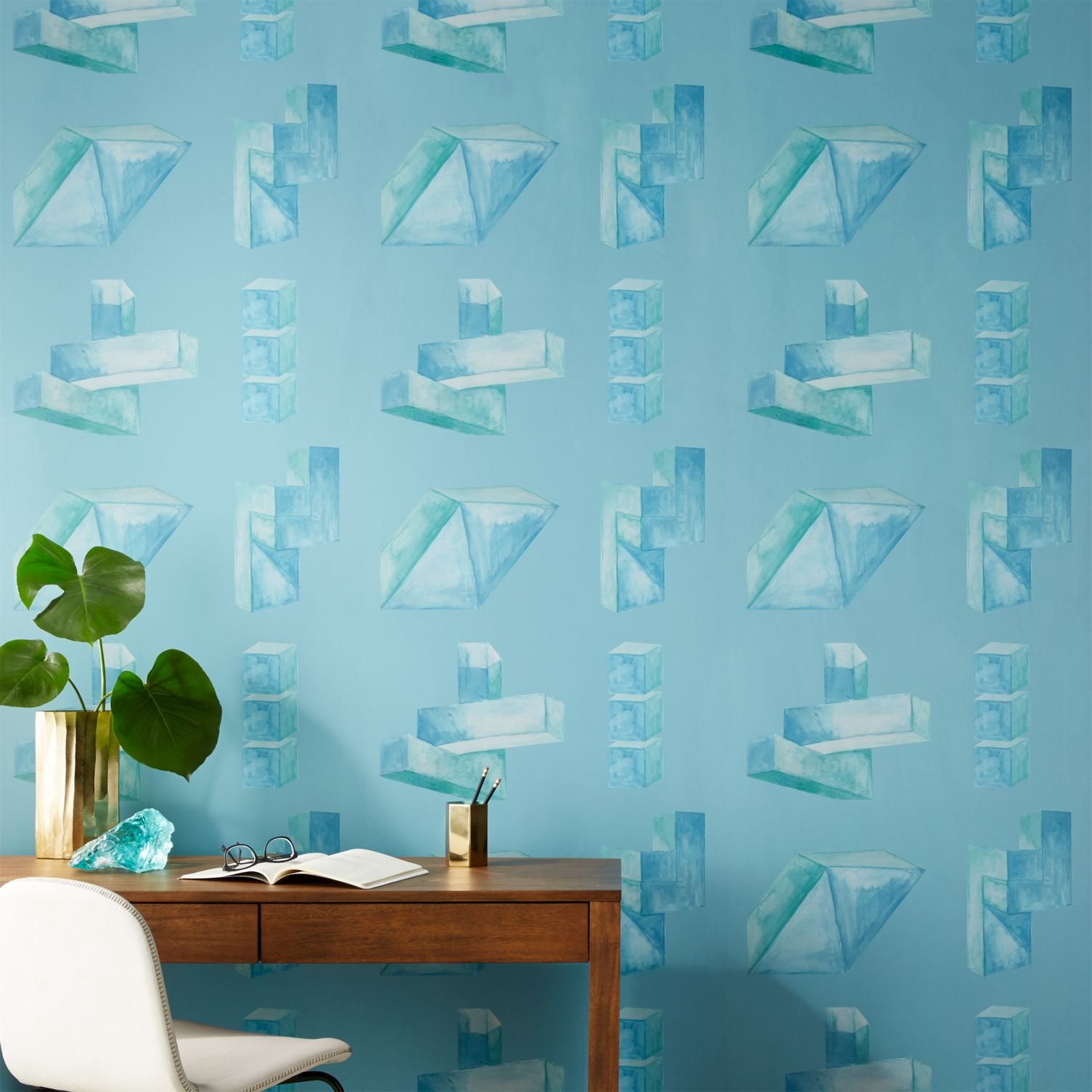 light blue and green wallpaper with soft brush geometric patterns
