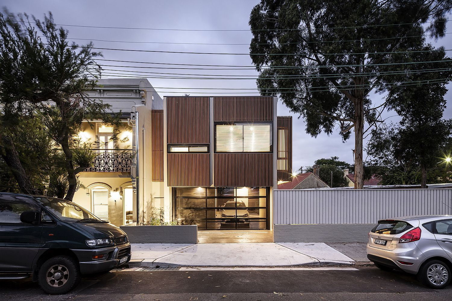 Wood and white street facade of home in Leichhardt