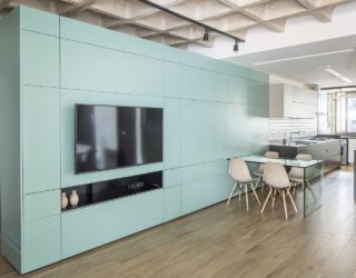 Multifunctional Cabinet Acts as Wardrobe, Dining Space and More Inside this Apartment