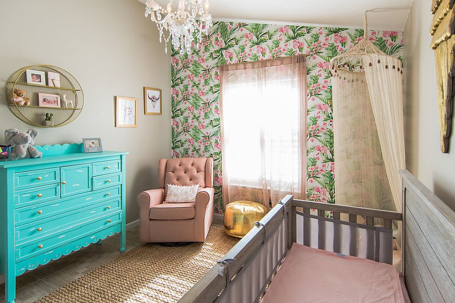 A touch of shabby chic and tropical combined in the nursery for eclectic beauty and relaxing appeal