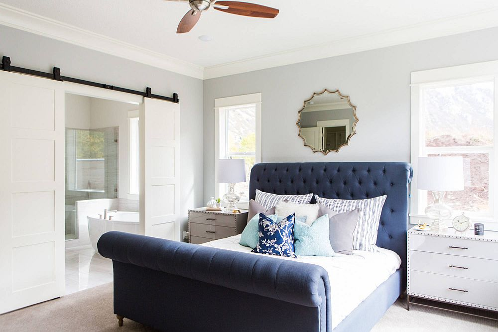 Beautiful-and-comfortable-sleigh-bed-in-dashing-blue-for-the-modern-bedroom