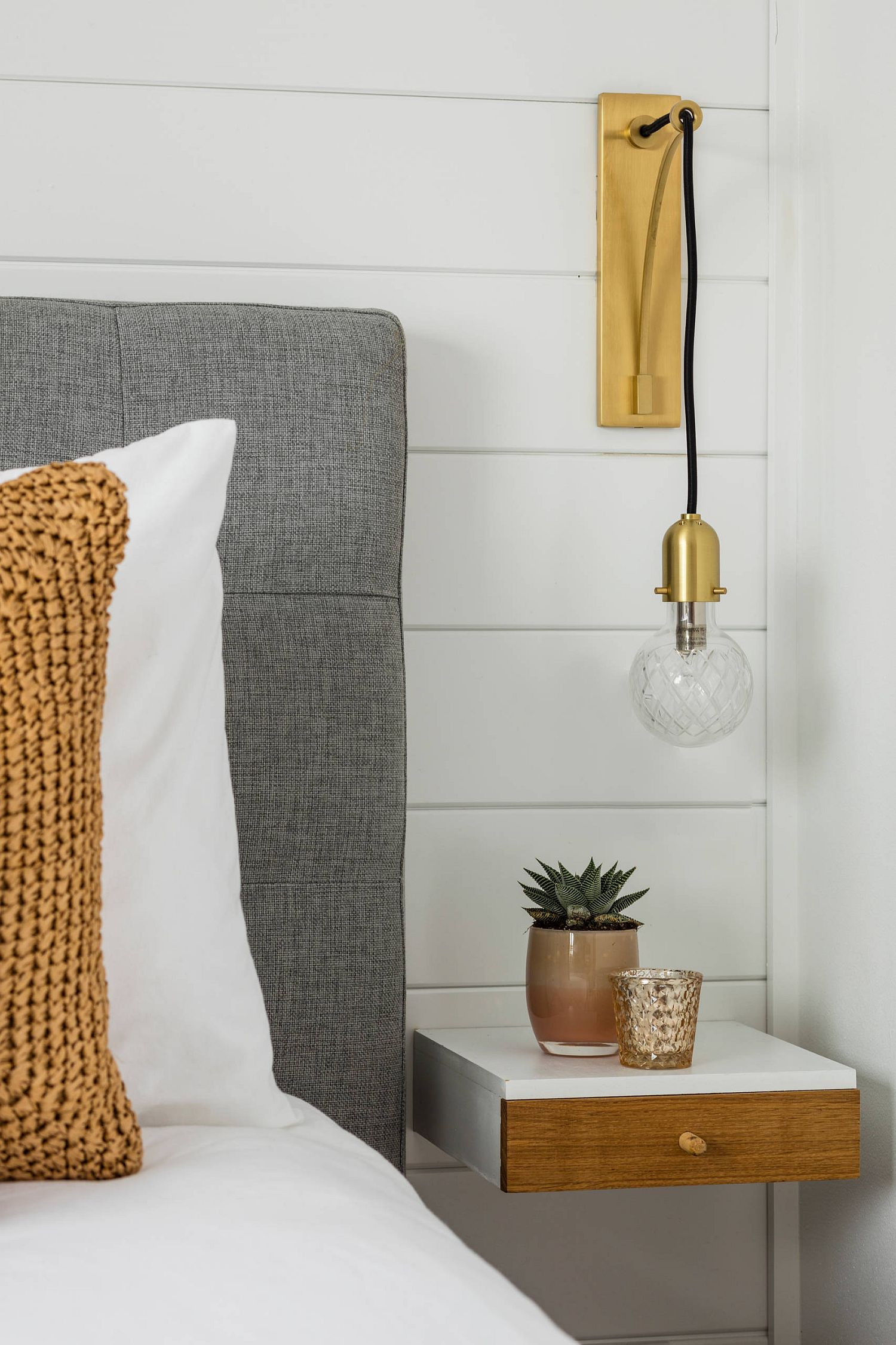 Bedside lighting that is wall-mounted can save space with ease