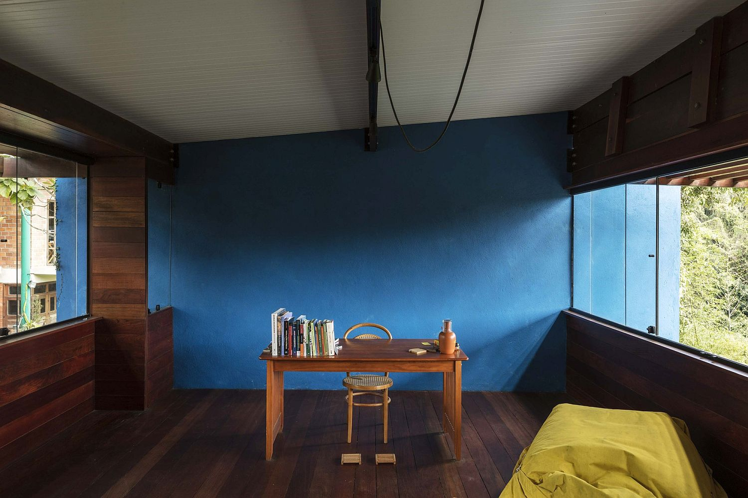 Blue brings color and brightness to the interior