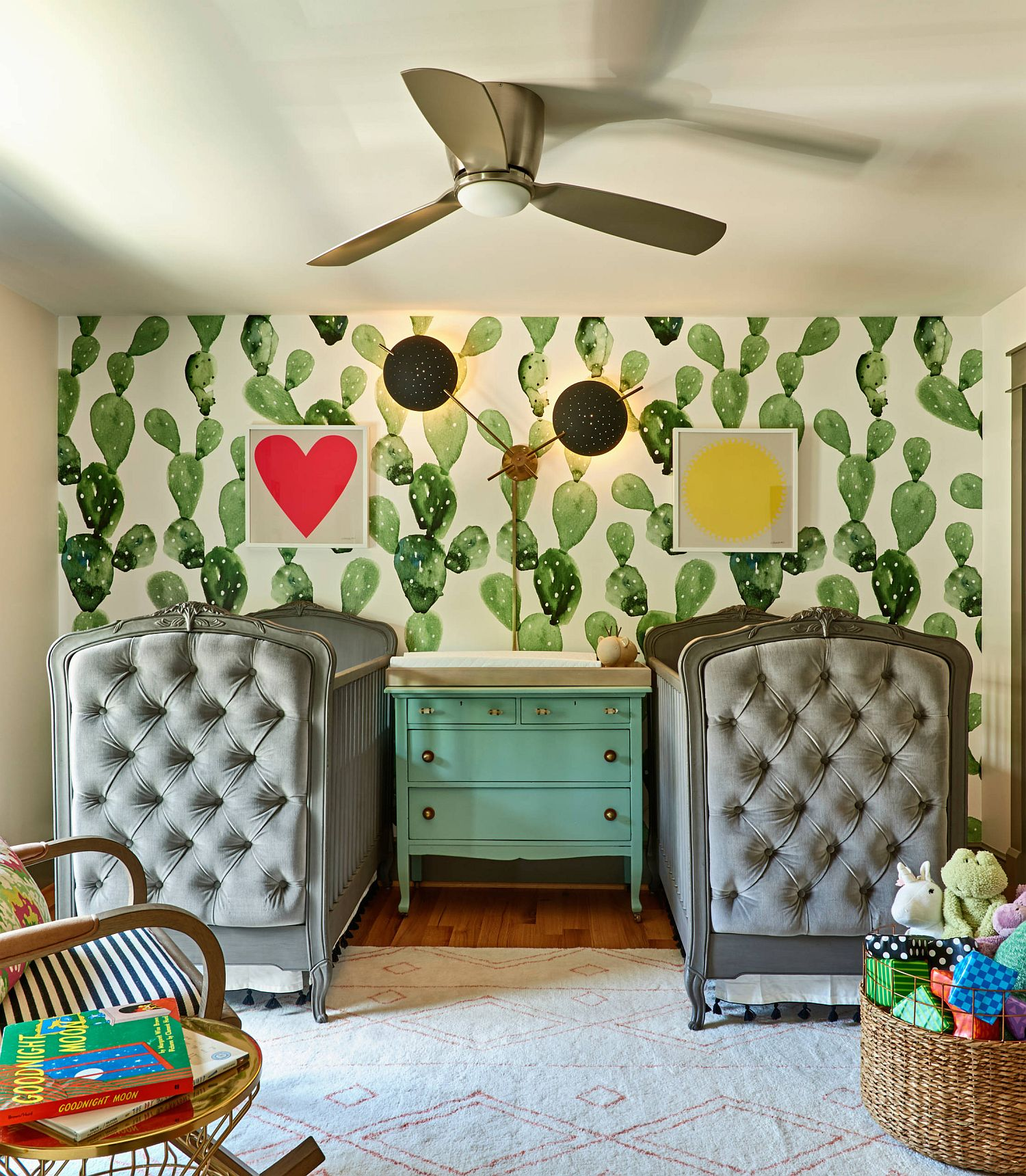 Cactus pattern in the backdrop makes an impact in the small eclectic nursery