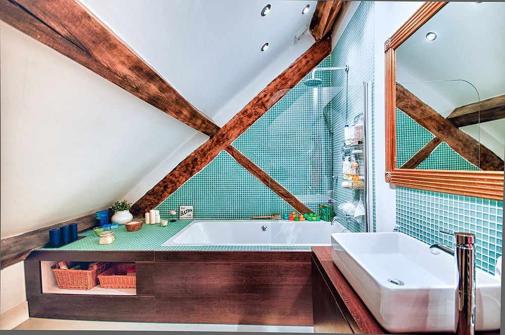 Colorful and unique small rustic bathroom with smart design and exposed wooden beams