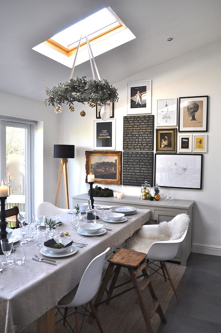 Combining Christmas decorations with custom gallery wall and eclectic touches in the dining room