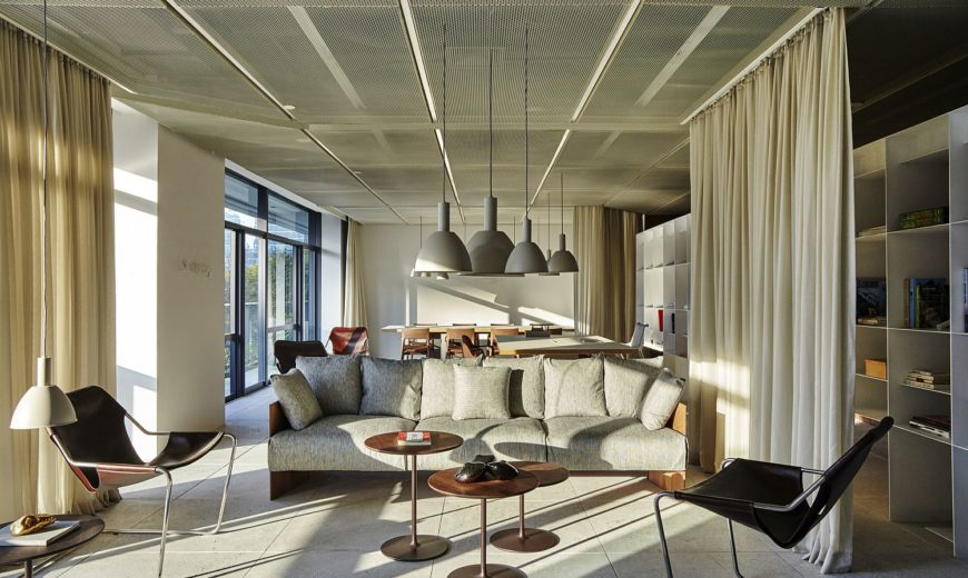 This Spacious and Inventive Office in Brazil Uses Drapes to Delineate Space
