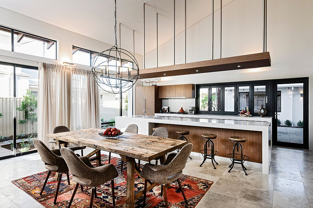 Contemporary kitchen and dining space with industrial and rustic touches thrown into the mix