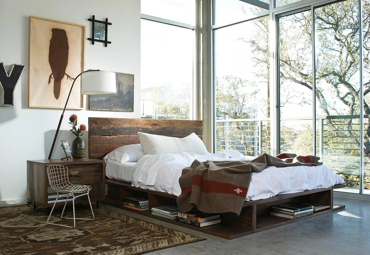 Custom-platform-bed-with-storage-space-for-books-and-more-is-a-real-space-saver