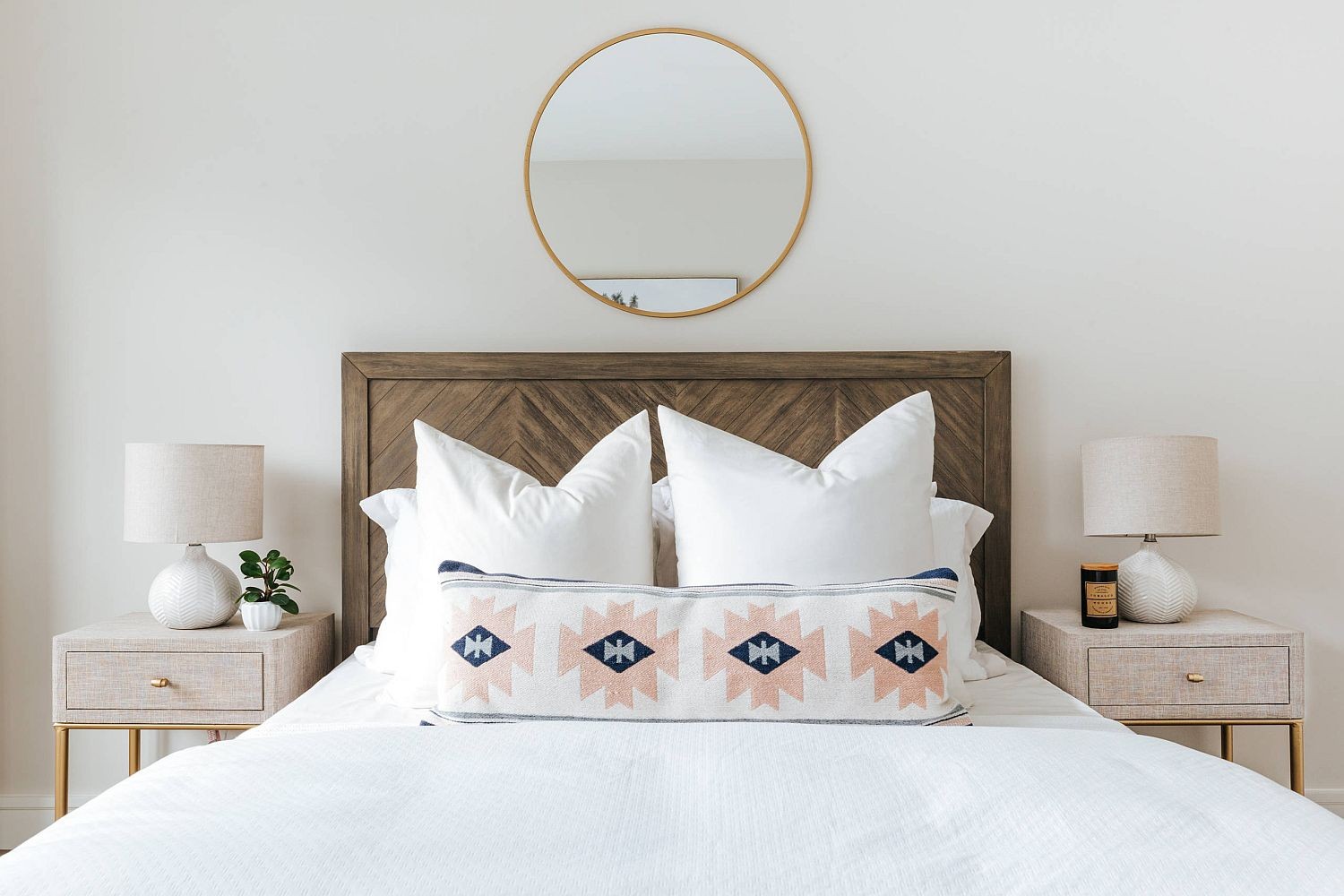 Custom wooden headboard for the smart contemporary bedroom in white