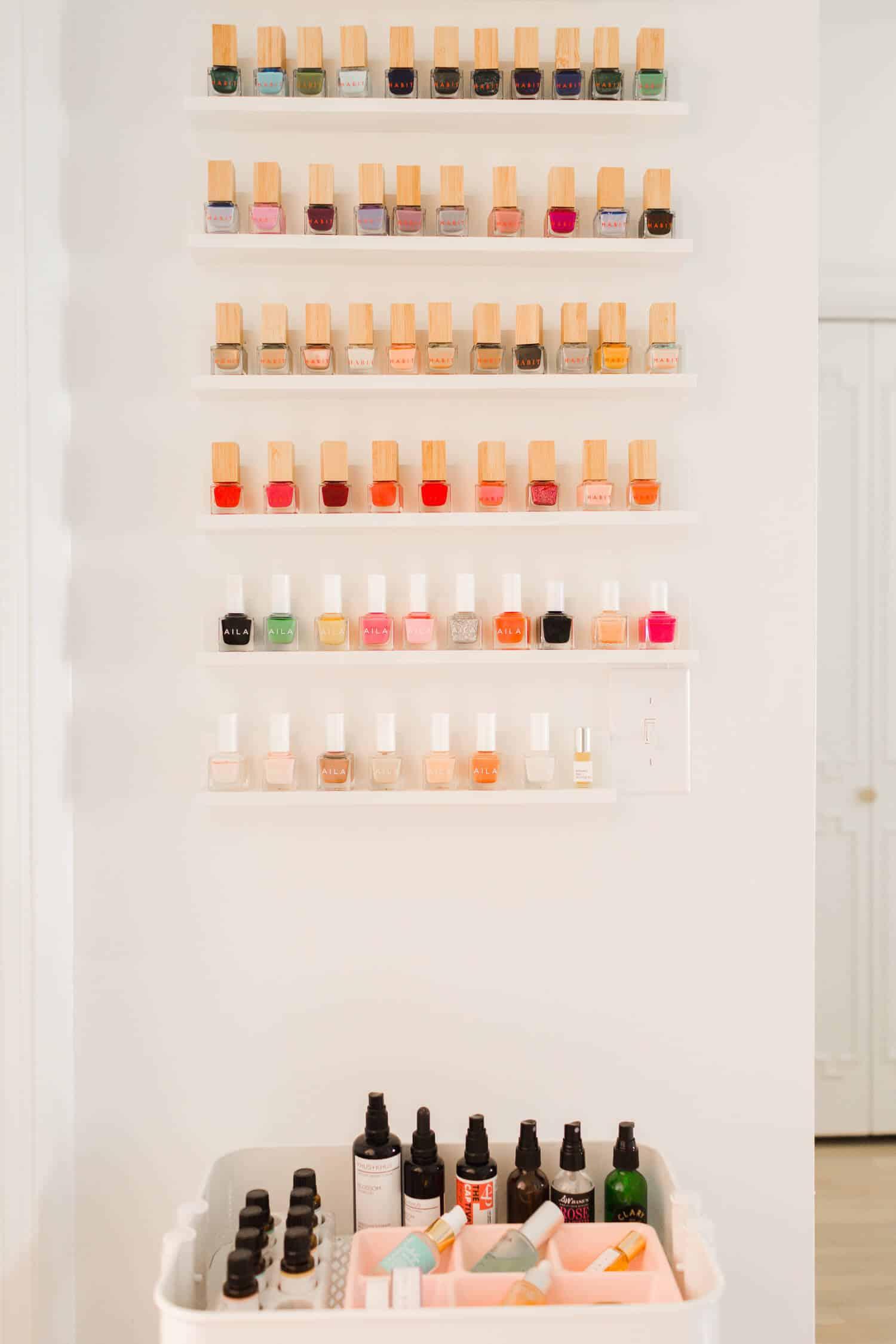 DIY nail polish wall