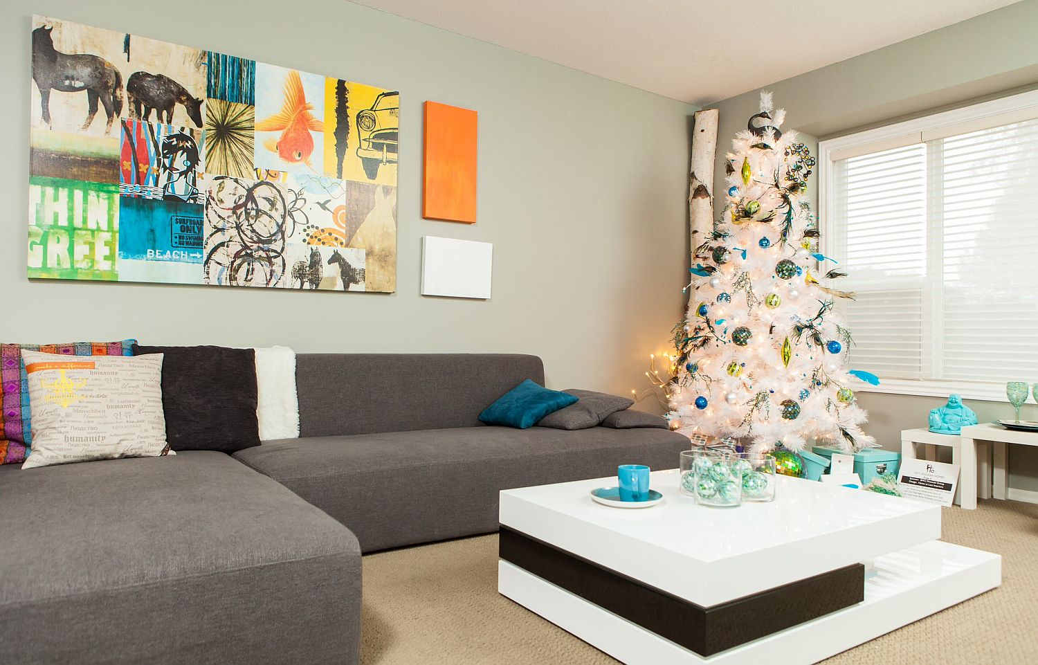 Dashing wall art addition behind the couch for a living room with festive charm