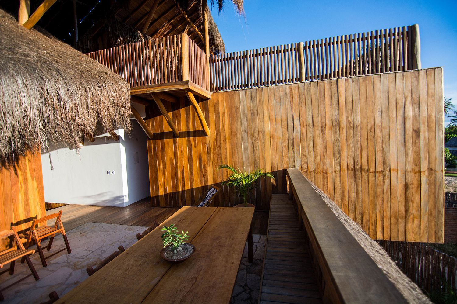 Deck of the house with custom wooden outdoor decor