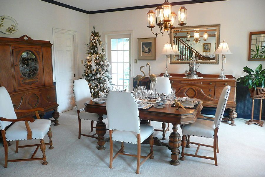 Decorate the dining room corner with a snowy Christmas tree as you head into the Holiday Season