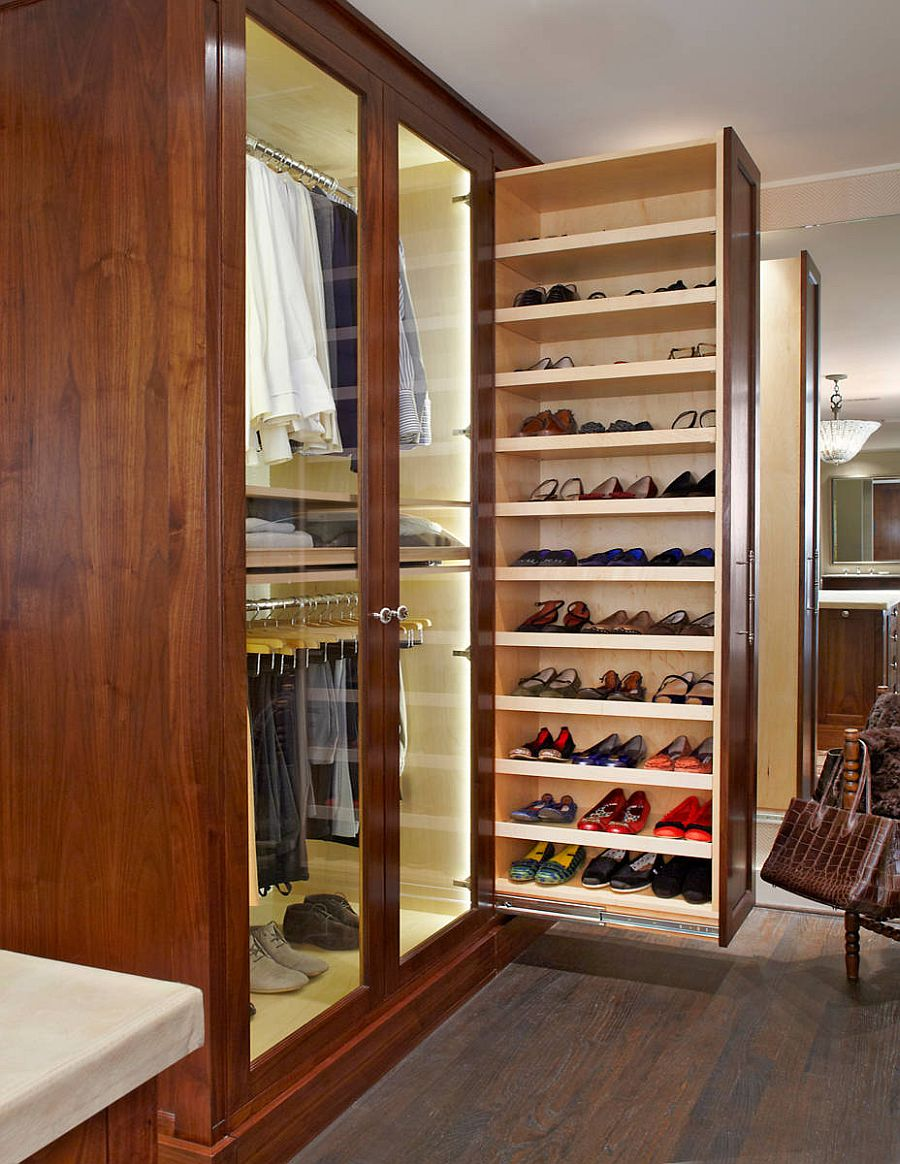 Fabulous small bedroom wardrobe that slides out to reveal more space