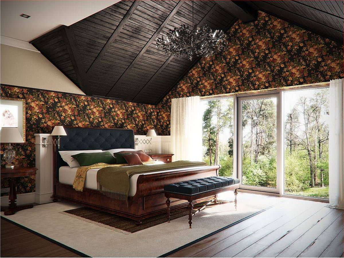 Fabulous-traditional-bedroom-with-high-pitched-ceiling-rich-wooden-decor-and-sleigh-bed
