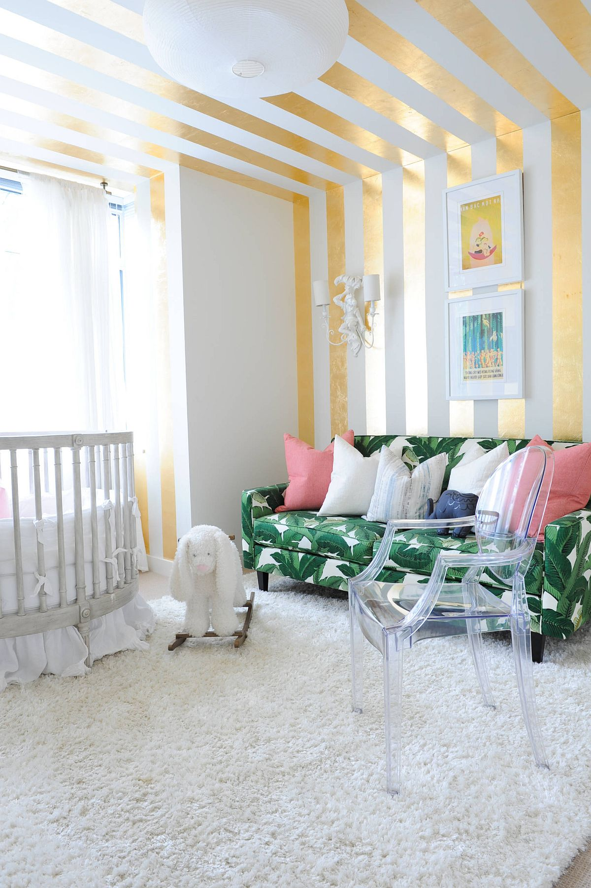 Gold stripes add glitter to the small eclectic nursery