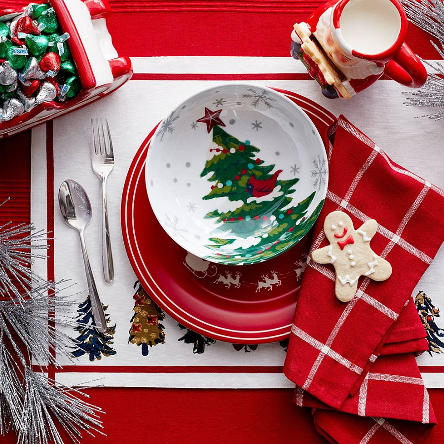 Gorgeous Christmas-themed tableware, mugs and more used to decorate the dining table