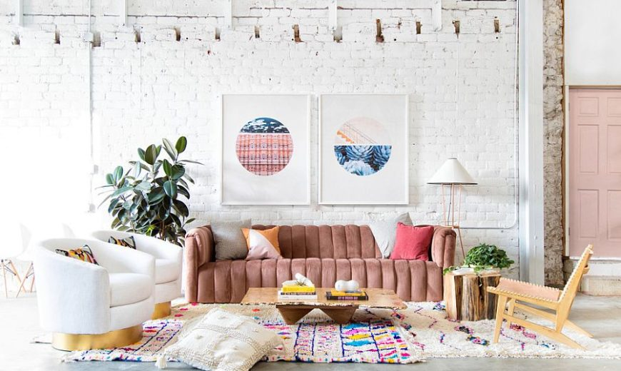 Eclectic Living Rooms with Brick Walls: Chic Confluence of Color and Pattern