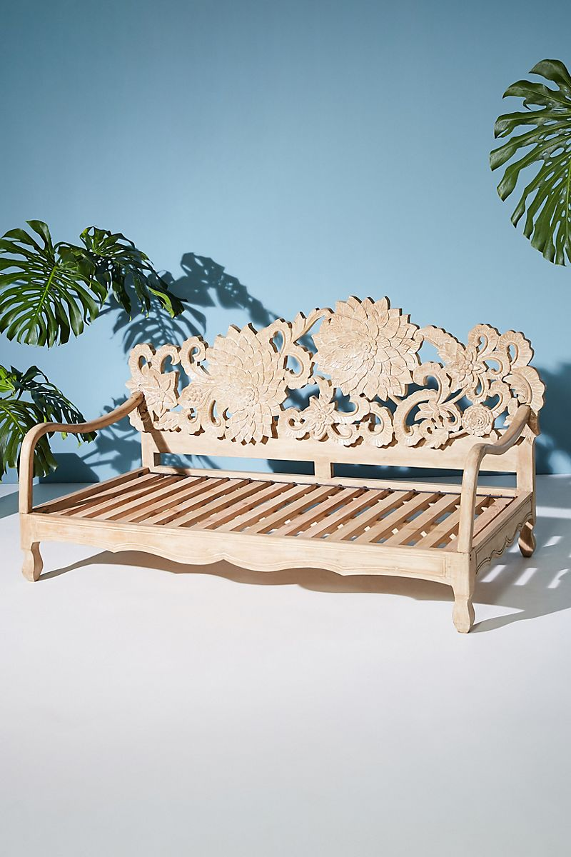 Handcarved wooden daybed from Anthropologie