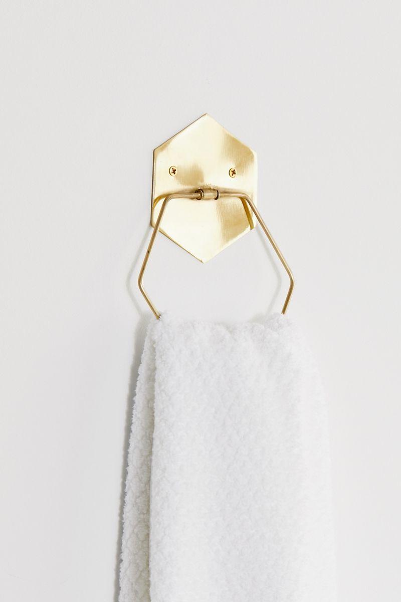 Hexagon towel bar in gold