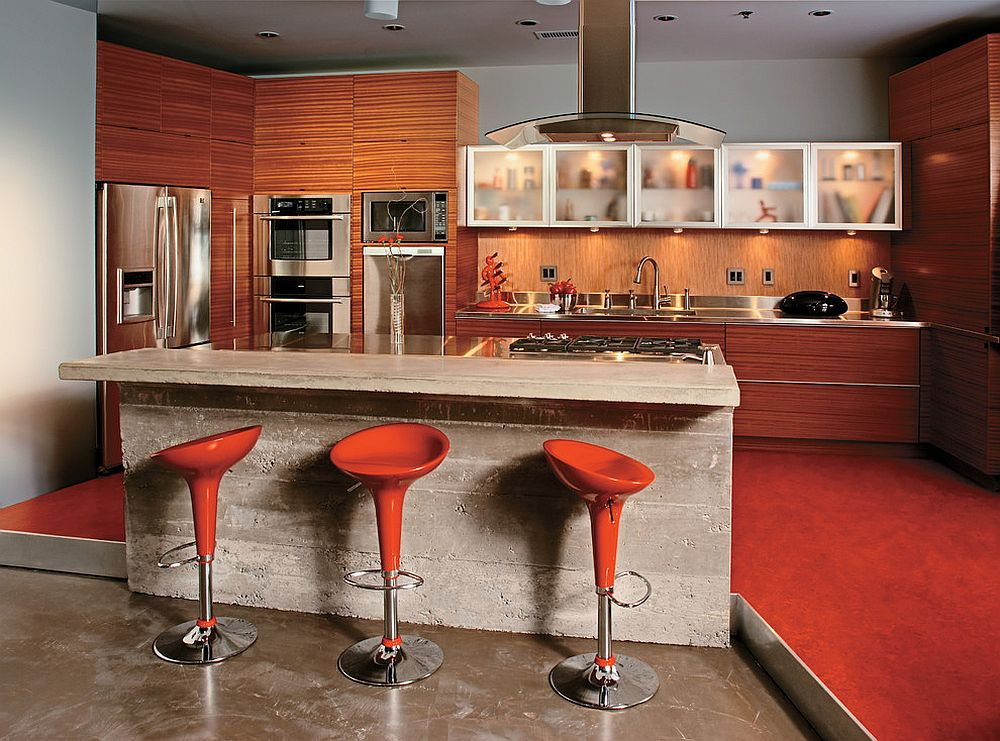Iconic swivel bar stool in red is a popular choice sin kitchens across the world!
