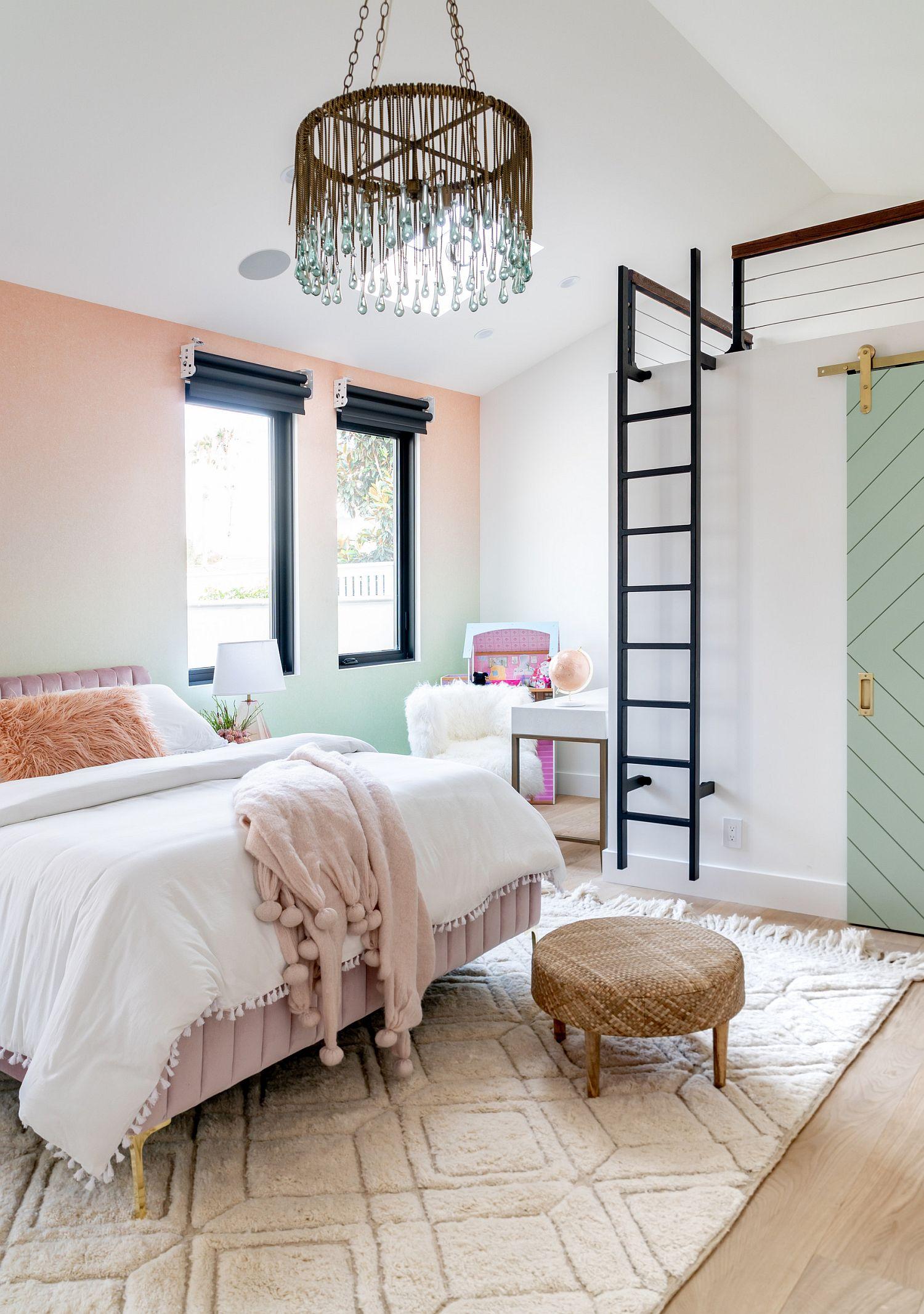 Lovely girls' bedroom in pastel hues feels elegant and modern
