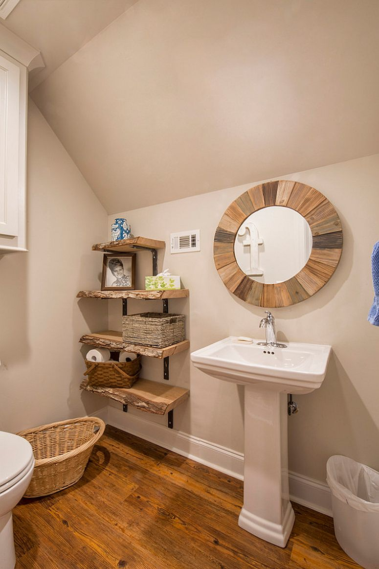Maximizing space in the corner with small shelves in the tiny rustic bathroom
