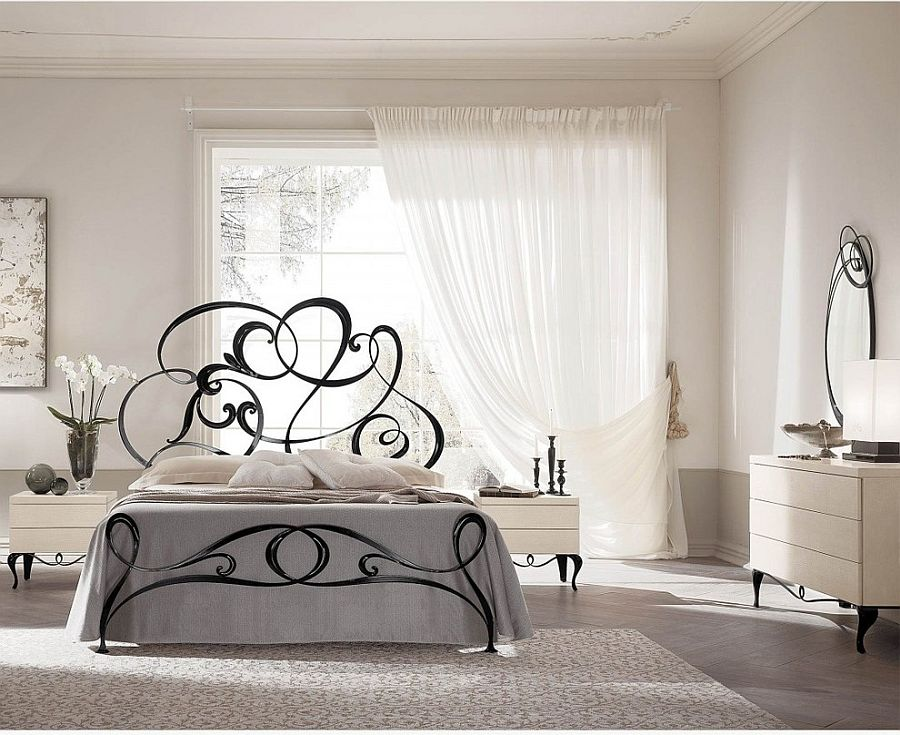 Metal-scrolled-bed-gives-the-classic-wrought-iron-bed-frame-a-brilliant-modern-twist