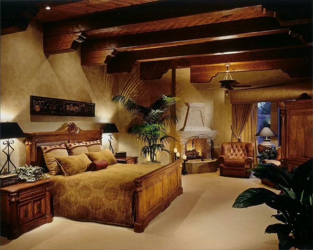 Modern Mediterranean style bedroom with mellow yellow shade and wooden beams