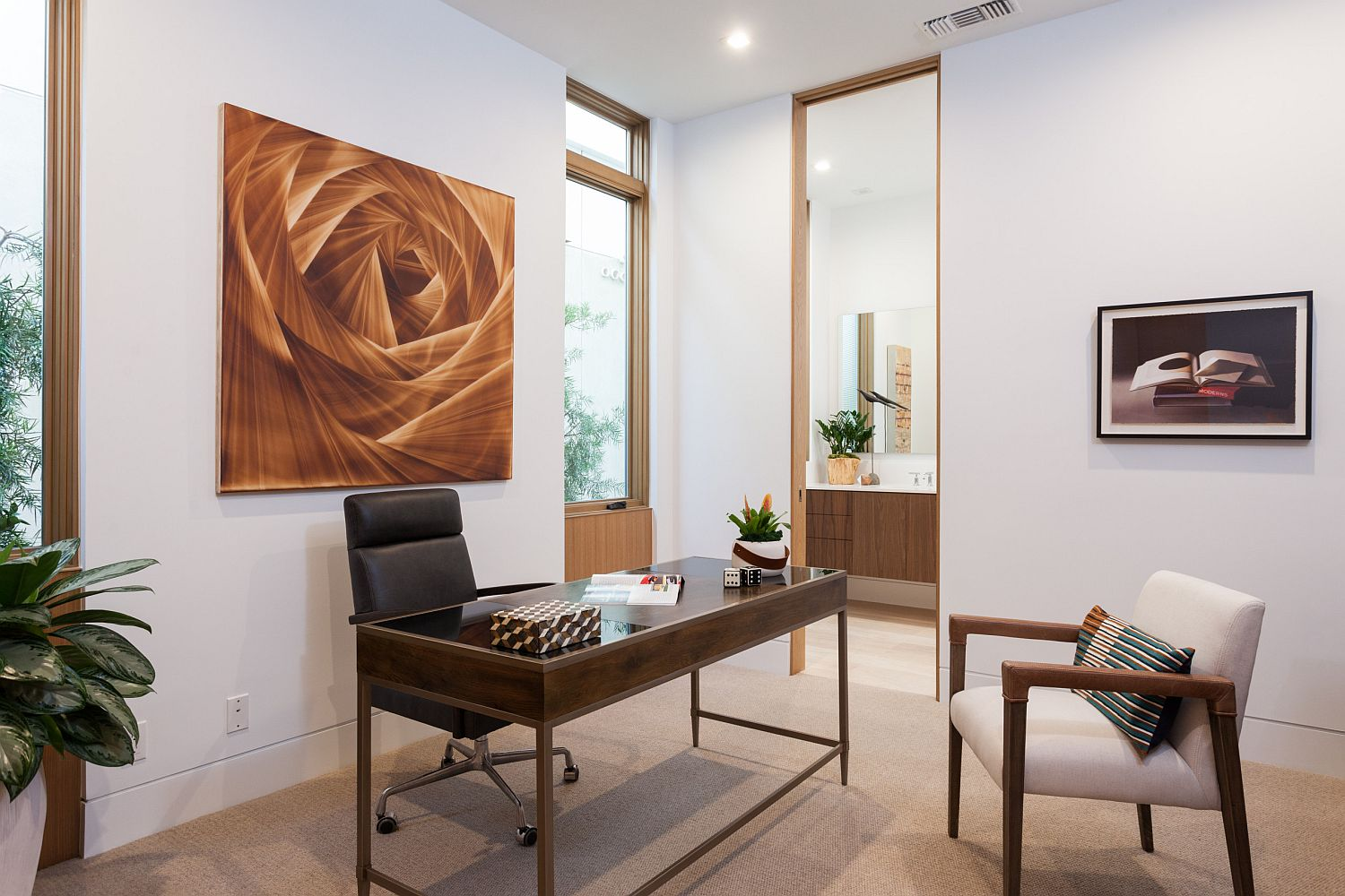 Modern wall art for the contemporary office space in white with ample natural light