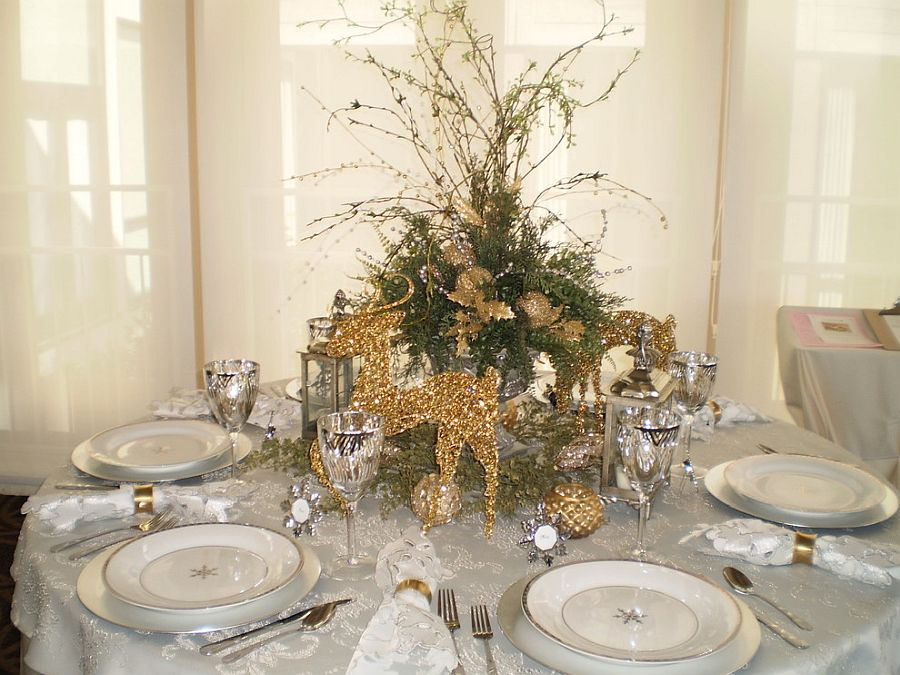 Moving away from red and green to white and gold for the Christmas dinner party