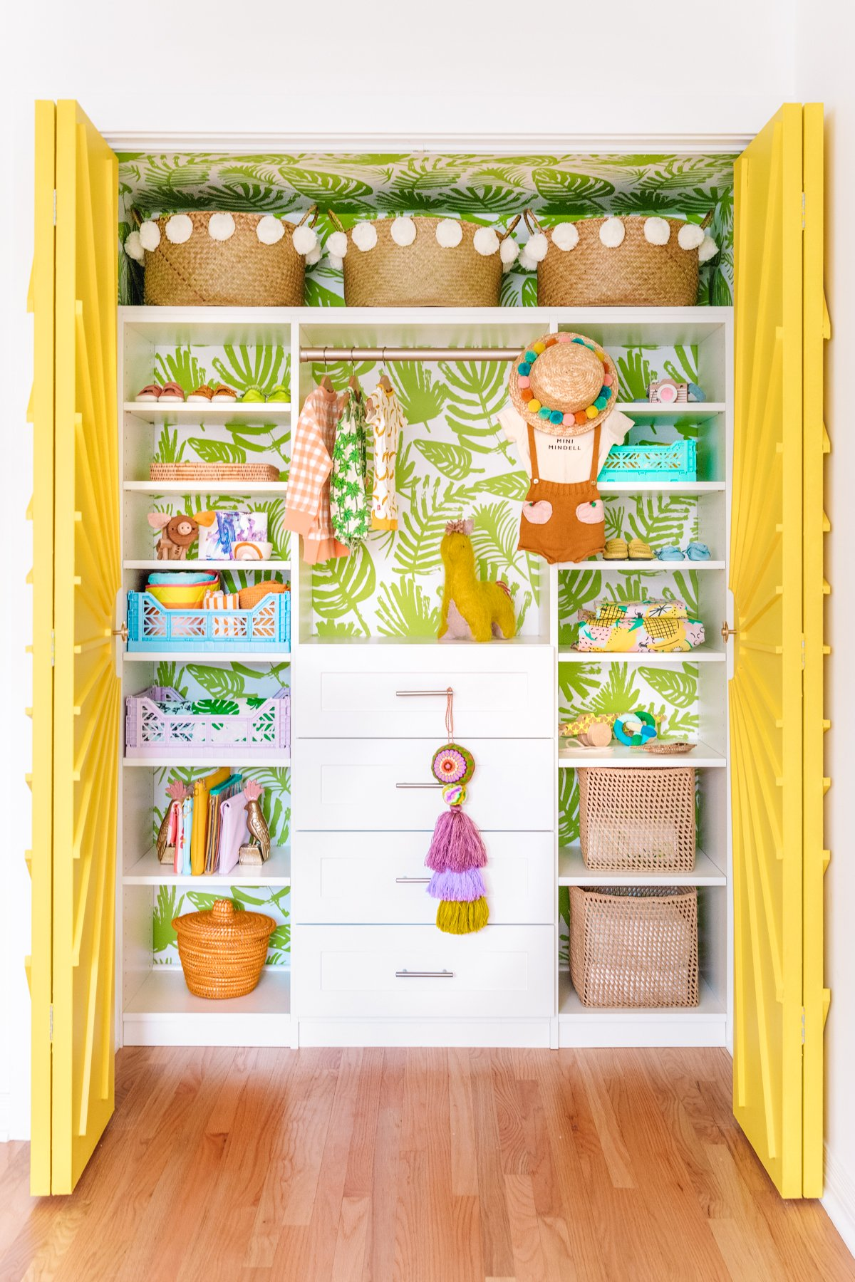 Nursery closet reveal with tropical wallpaper