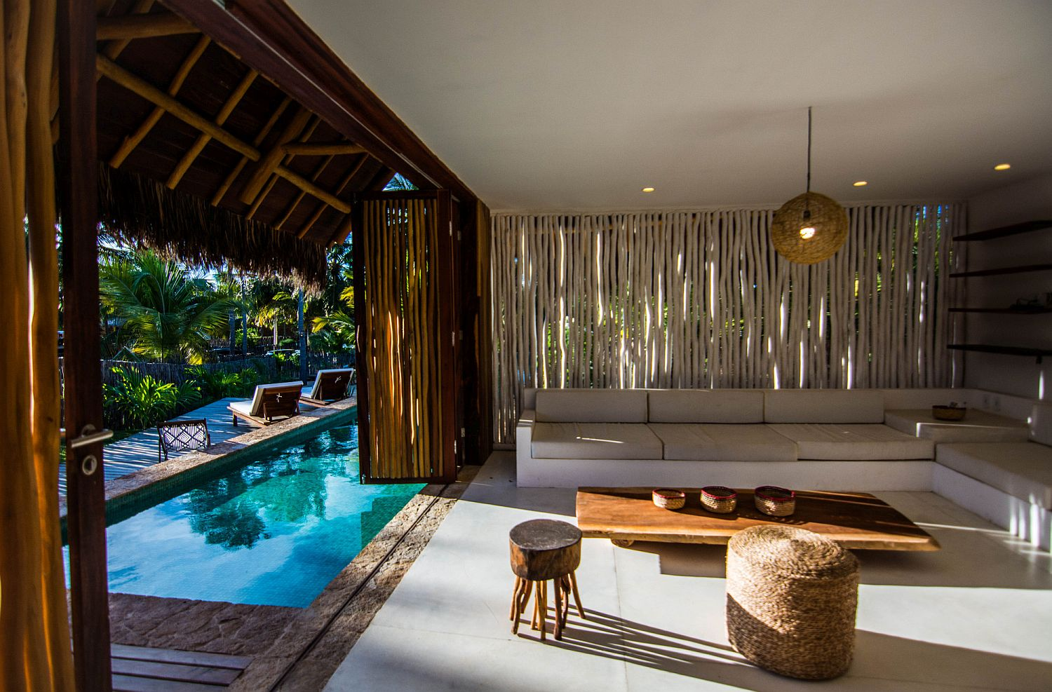 Open design of the lounge blurs traditional indoor-outdoor dynamics