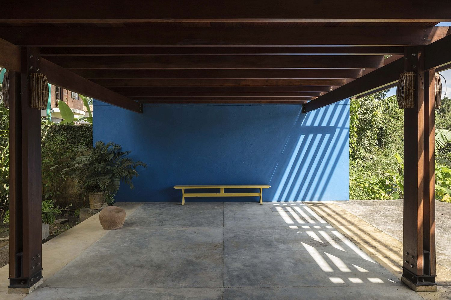 Pergola structure offers shade to those inside