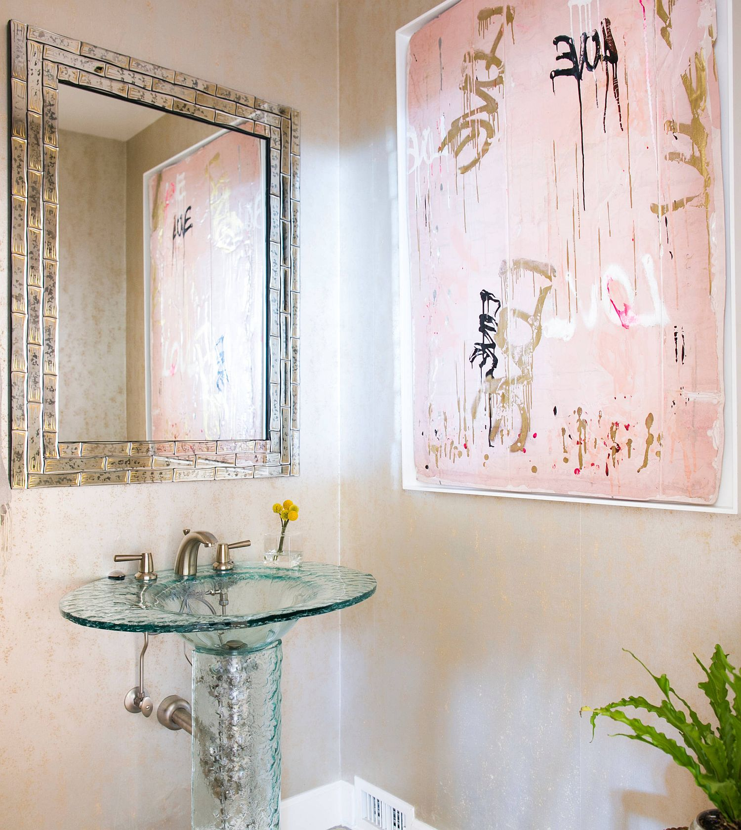 Pink classy wall art for the bathroom with cream walls