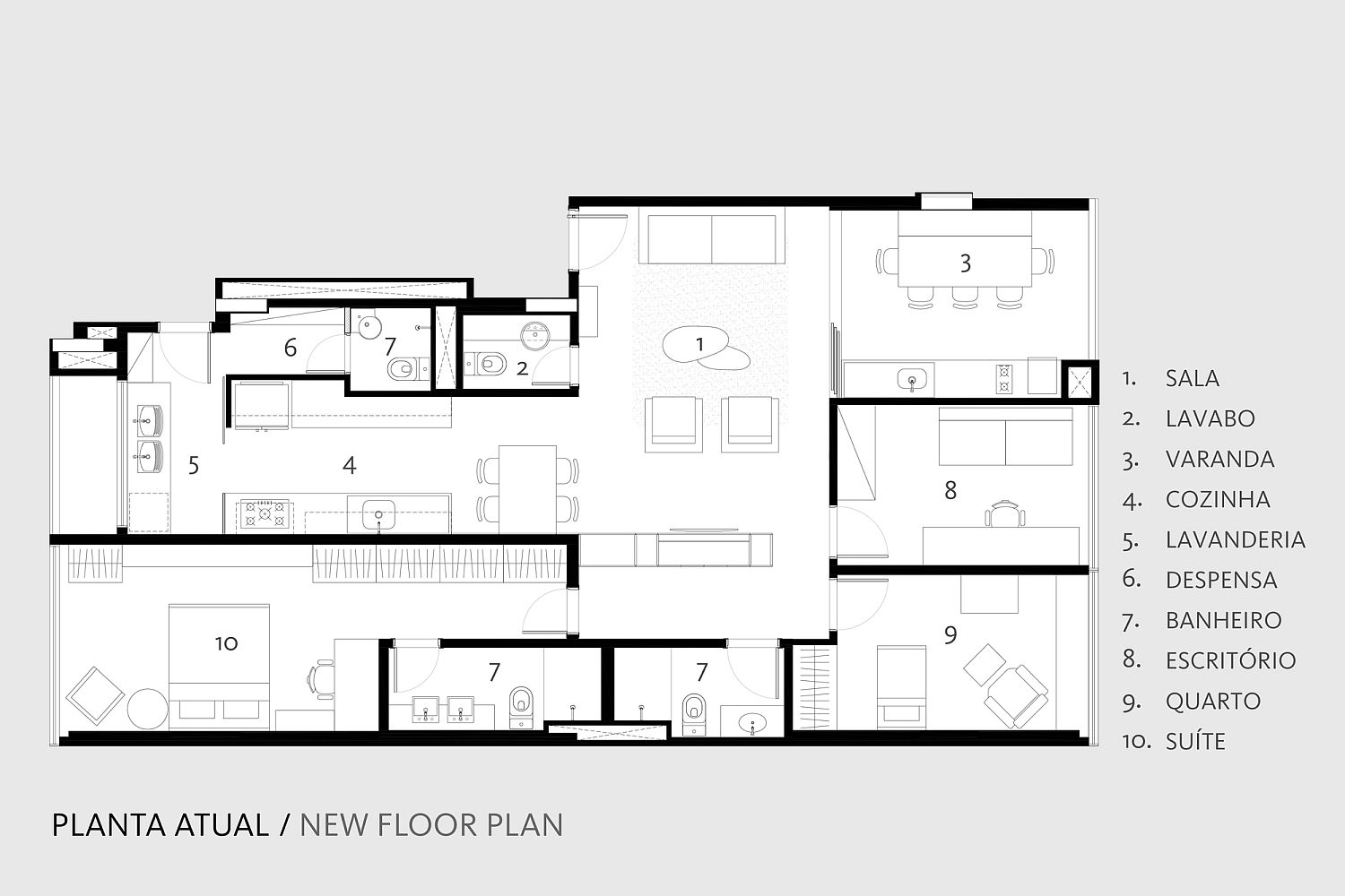 Revised floor plan of the apartment with revamped interiors