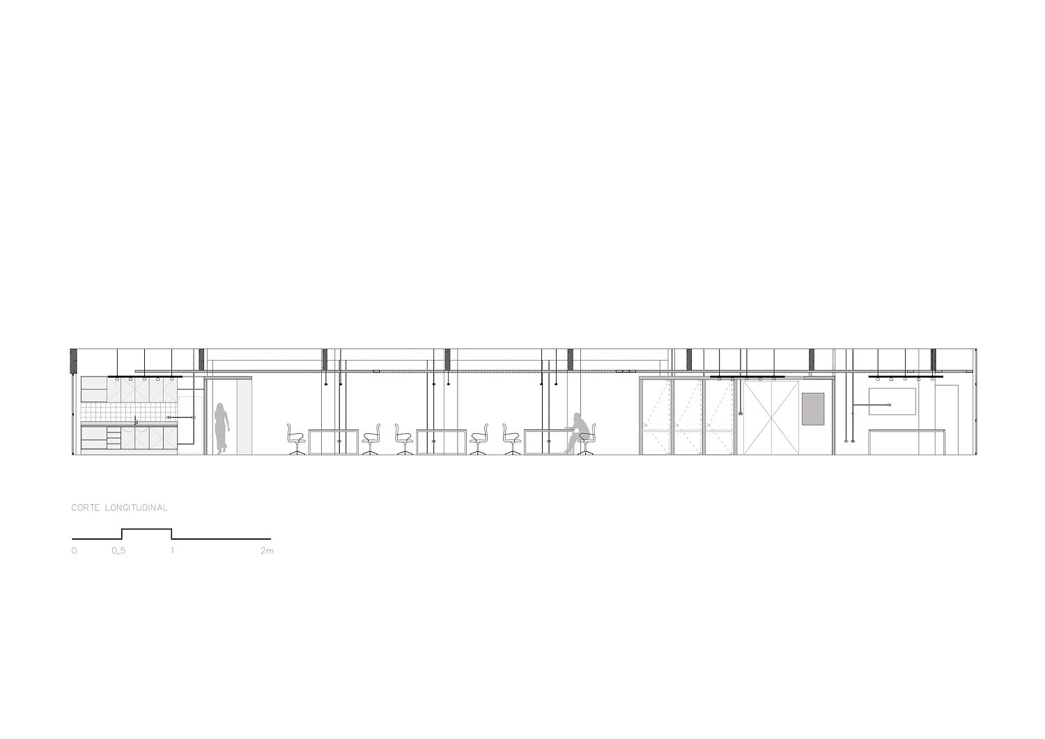 Sectional view of the office workspace design