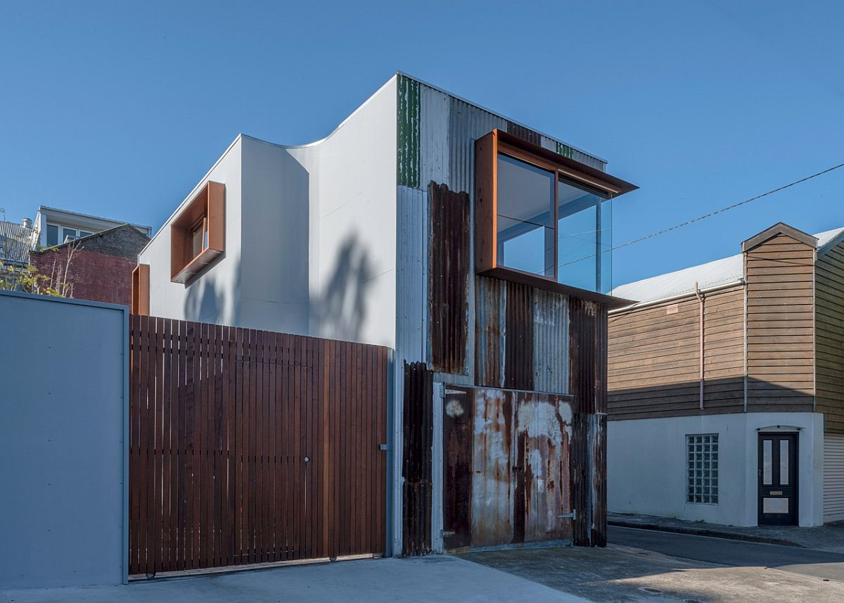 Street-facade-of-the-Tinshed-in-Sydney-is-covered-with-metal-salvaged-from-old-tinshed