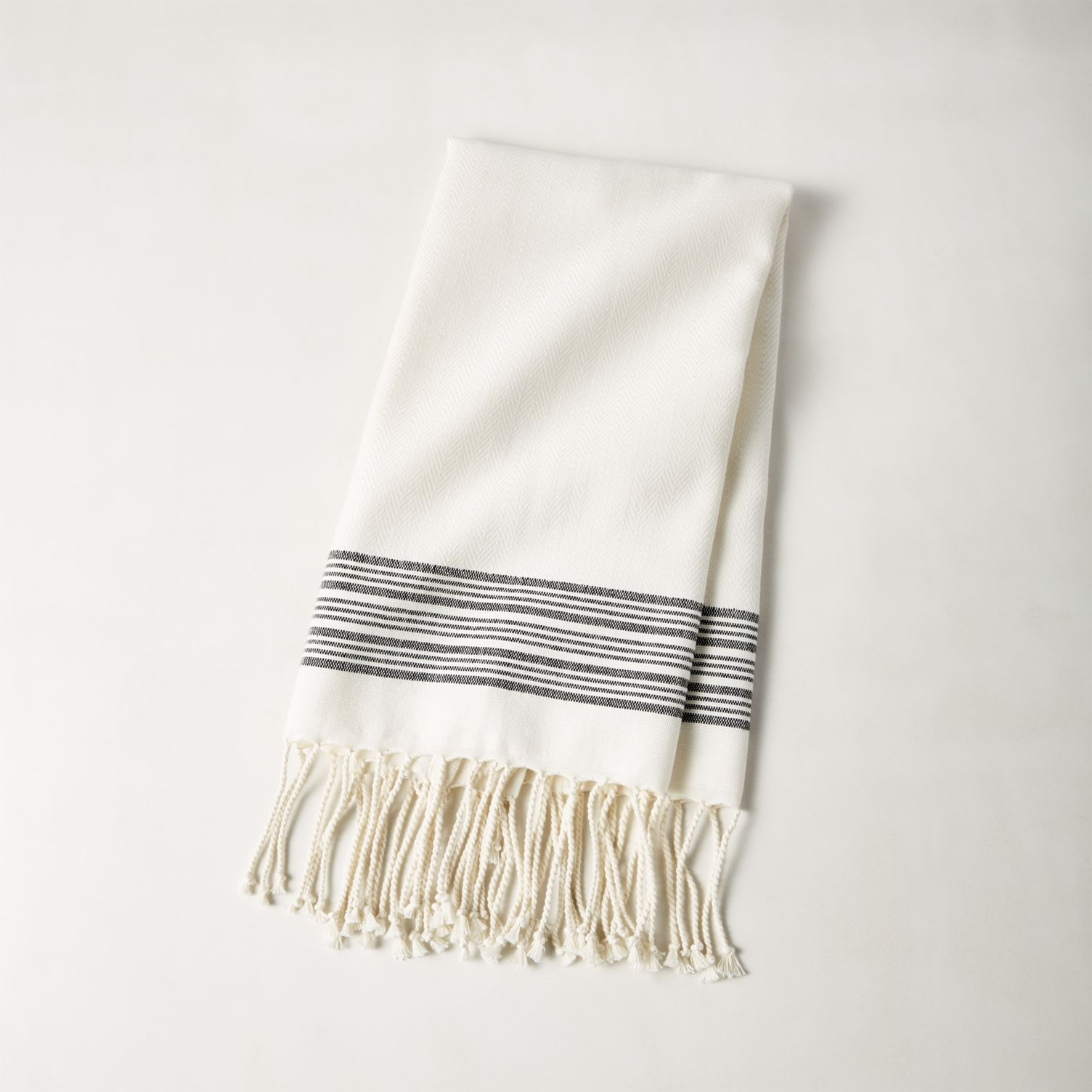 Striped cream hand towel